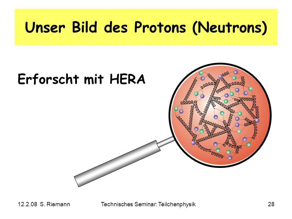 12.2.08 S. RiemannTechnisches Seminar: Teilchenphysik28 Unser Bild des Protons (Neutrons) Erforscht mit HERA