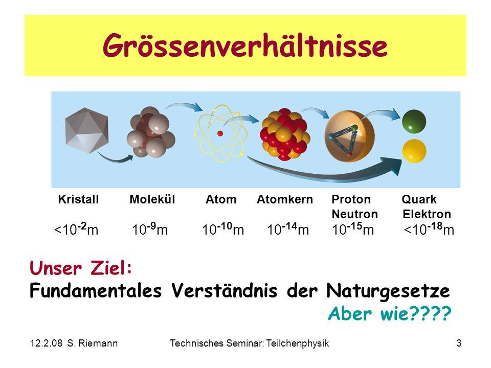 12.2.08 S. RiemannTechnisches Seminar: Teilchenphysik3 Grössenverhältnisse Unser Ziel: Fundamentales Verständnis der Naturgesetze Aber wie???? Kristal