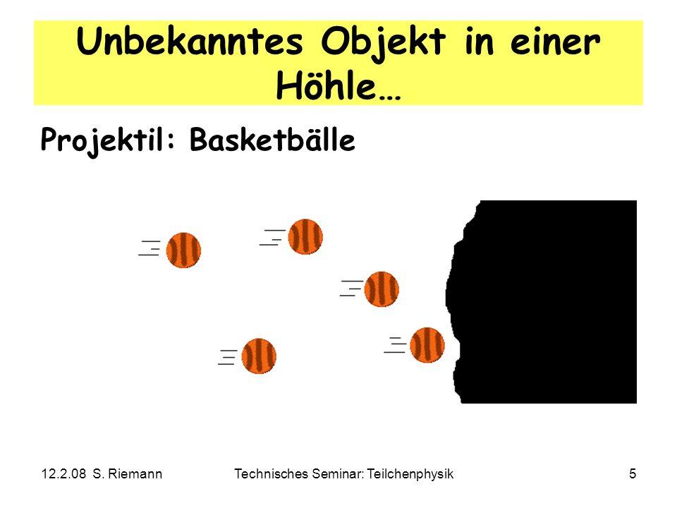 12.2.08 S. RiemannTechnisches Seminar: Teilchenphysik5 Unbekanntes Objekt in einer Höhle… Projektil: Basketbälle