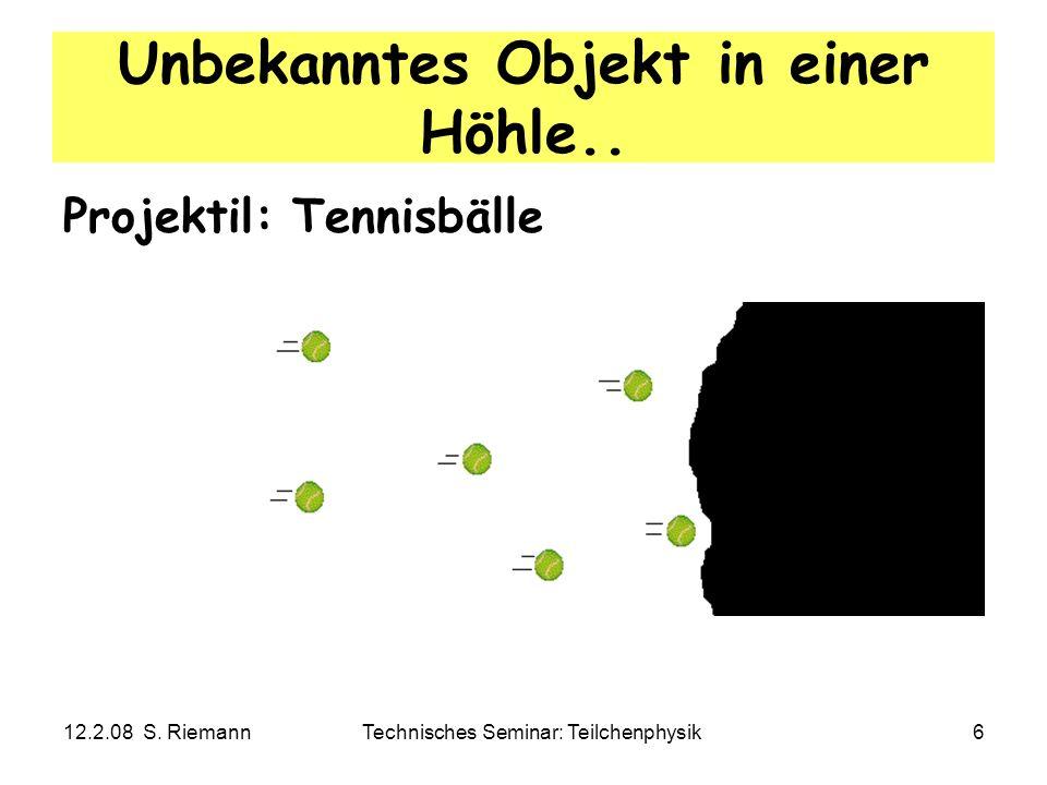 12.2.08 S. RiemannTechnisches Seminar: Teilchenphysik6 Unbekanntes Objekt in einer Höhle.. Projektil: Tennisbälle