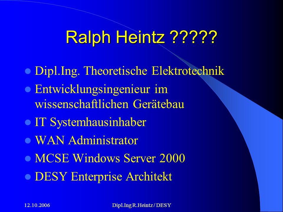12.10.2006Dipl.Ing R.Heintz / DESY Ralph Heintz .