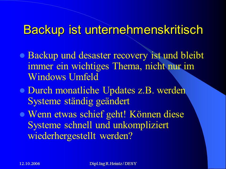 12.10.2006Dipl.Ing R.Heintz / DESY Backup ist unternehmenskritisch Backup und desaster recovery ist und bleibt immer ein wichtiges Thema, nicht nur im Windows Umfeld Durch monatliche Updates z.B.