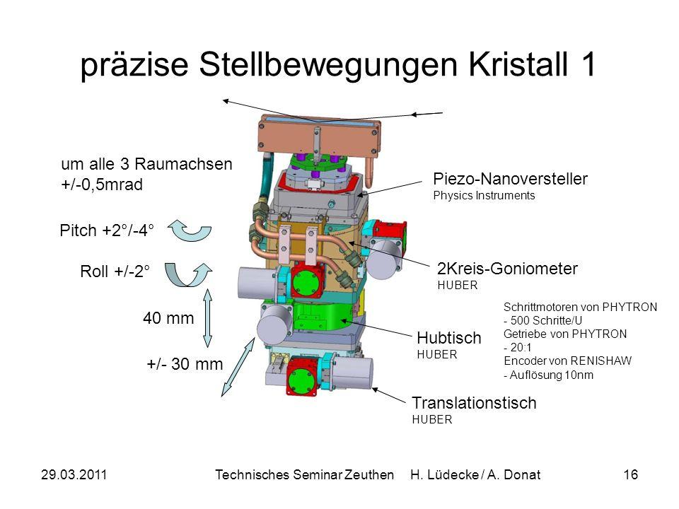 29.03.2011Technisches Seminar Zeuthen H. Lüdecke / A. Donat16 präzise Stellbewegungen Kristall 1 +/- 30 mm Translationstisch HUBER 40 mm Hubtisch HUBE