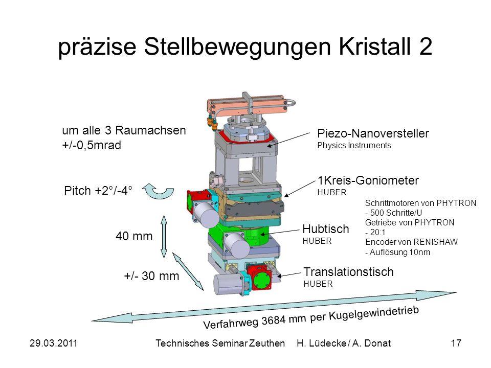 29.03.2011Technisches Seminar Zeuthen H. Lüdecke / A. Donat17 präzise Stellbewegungen Kristall 2 +/- 30 mm Translationstisch HUBER 40 mm Hubtisch HUBE