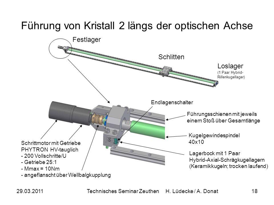 29.03.2011Technisches Seminar Zeuthen H. Lüdecke / A. Donat18 Führung von Kristall 2 längs der optischen Achse Schlitten Loslager (1 Paar Hybrid- Rill