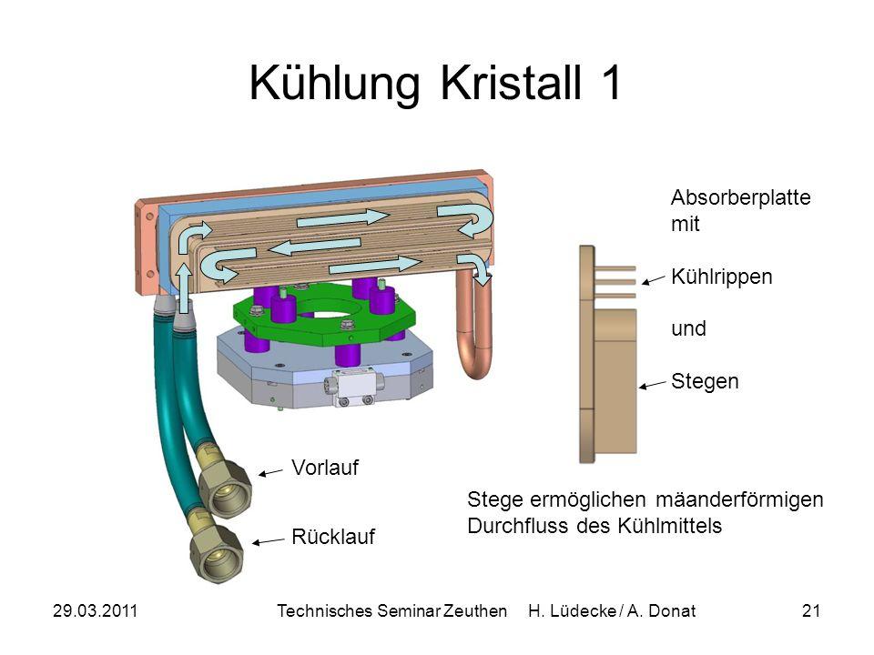 29.03.2011Technisches Seminar Zeuthen H. Lüdecke / A. Donat21 Kühlung Kristall 1 Stege ermöglichen mäanderförmigen Durchfluss des Kühlmittels Vorlauf