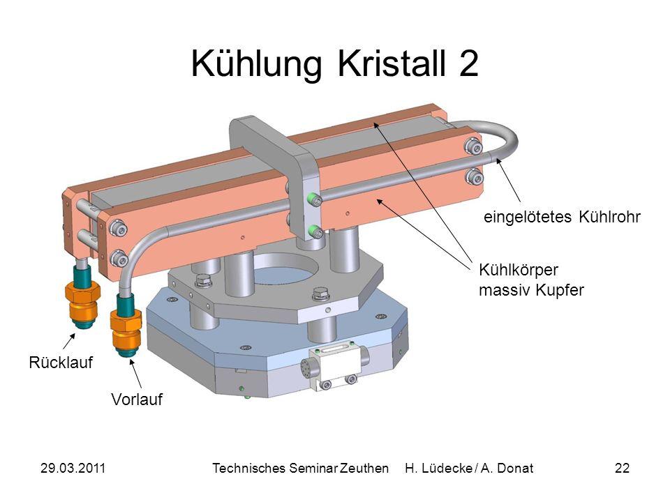 29.03.2011Technisches Seminar Zeuthen H. Lüdecke / A. Donat22 Kühlung Kristall 2 Kühlkörper massiv Kupfer eingelötetes Kühlrohr Vorlauf Rücklauf