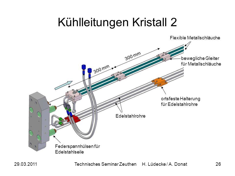 29.03.2011Technisches Seminar Zeuthen H. Lüdecke / A. Donat26 Kühlleitungen Kristall 2 300 mm ortsfeste Halterung für Edelstahlrohre Edelstahlrohre be
