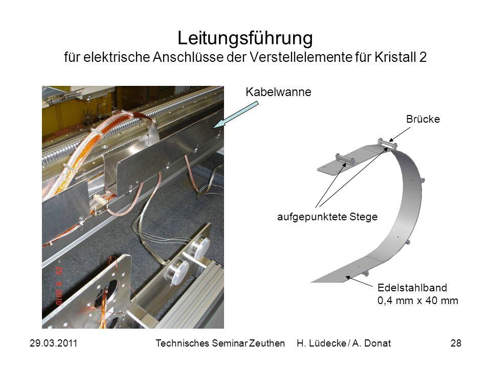29.03.2011Technisches Seminar Zeuthen H. Lüdecke / A. Donat28 Leitungsführung für elektrische Anschlüsse der Verstellelemente für Kristall 2 Edelstahl