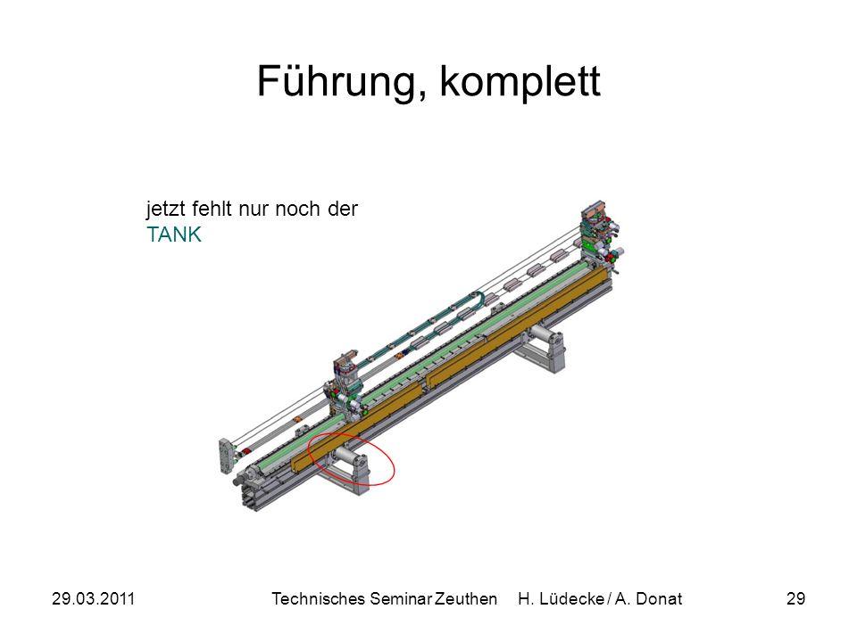 29.03.2011Technisches Seminar Zeuthen H. Lüdecke / A. Donat29 Führung, komplett jetzt fehlt nur noch der TANK