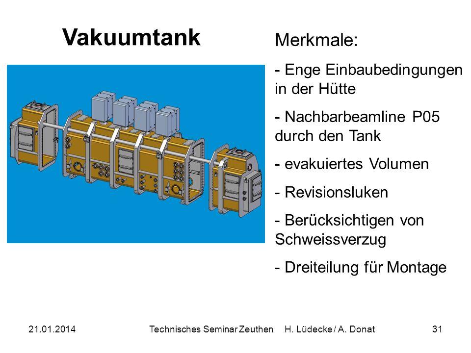 21.01.2014Technisches Seminar Zeuthen H. Lüdecke / A. Donat31 Merkmale: - Enge Einbaubedingungen in der Hütte - Nachbarbeamline P05 durch den Tank - e