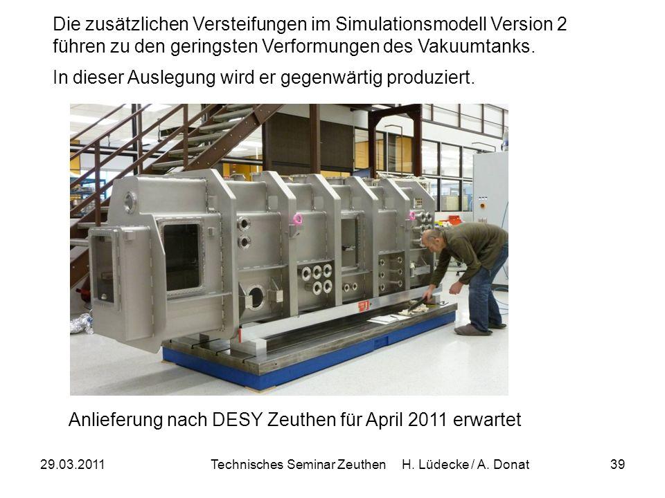 29.03.2011Technisches Seminar Zeuthen H. Lüdecke / A. Donat39 Die zusätzlichen Versteifungen im Simulationsmodell Version 2 führen zu den geringsten V