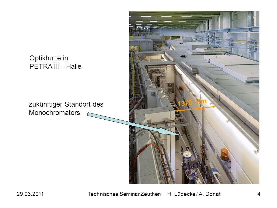 29.03.2011Technisches Seminar Zeuthen H. Lüdecke / A. Donat4 Optikhütte in PETRA III - Halle zukünftiger Standort des Monochromators 1370 mm