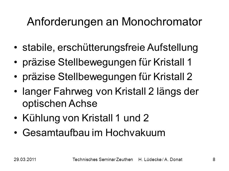 29.03.2011Technisches Seminar Zeuthen H. Lüdecke / A. Donat8 Anforderungen an Monochromator stabile, erschütterungsfreie Aufstellung präzise Stellbewe