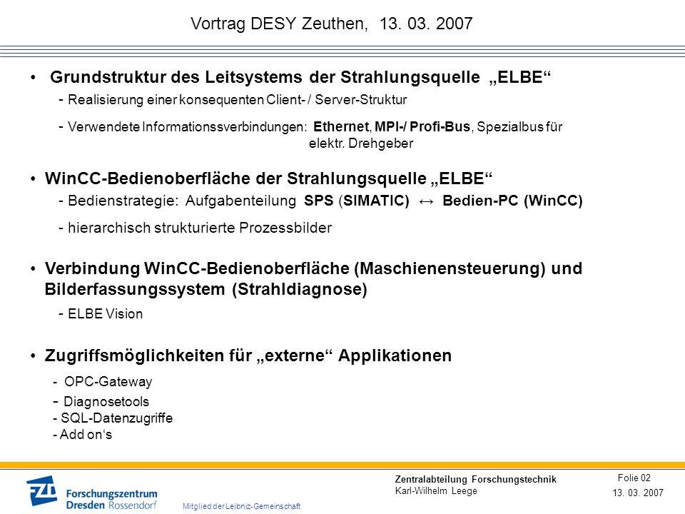 Vortrag DESY Zeuthen, 13. 03. 2007 13. 03. 2007 Folie 02 Zentralabteilung Forschungstechnik Karl-Wilhelm Leege Mitglied der Leibniz-Gemeinschaft Verbi
