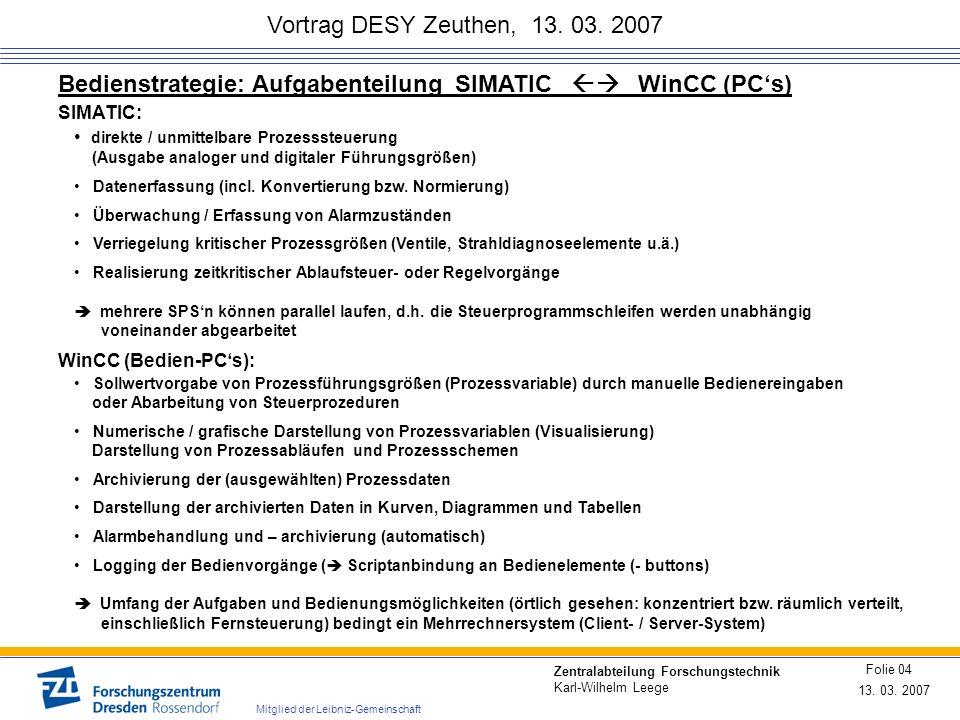 Vortrag DESY Zeuthen, 13. 03. 2007 13. 03. 2007 Folie 04 Zentralabteilung Forschungstechnik Karl-Wilhelm Leege Mitglied der Leibniz-Gemeinschaft Bedie