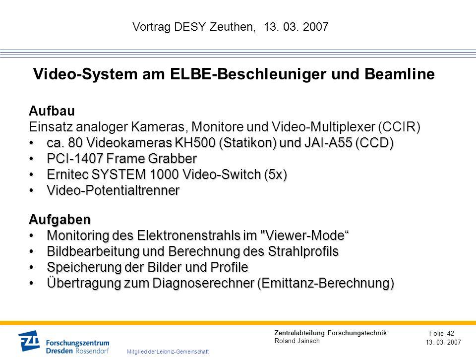 Vortrag DESY Zeuthen, 13. 03. 2007 13. 03. 2007 Folie 42 Zentralabteilung Forschungstechnik Roland Jainsch Mitglied der Leibniz-Gemeinschaft Video-Sys