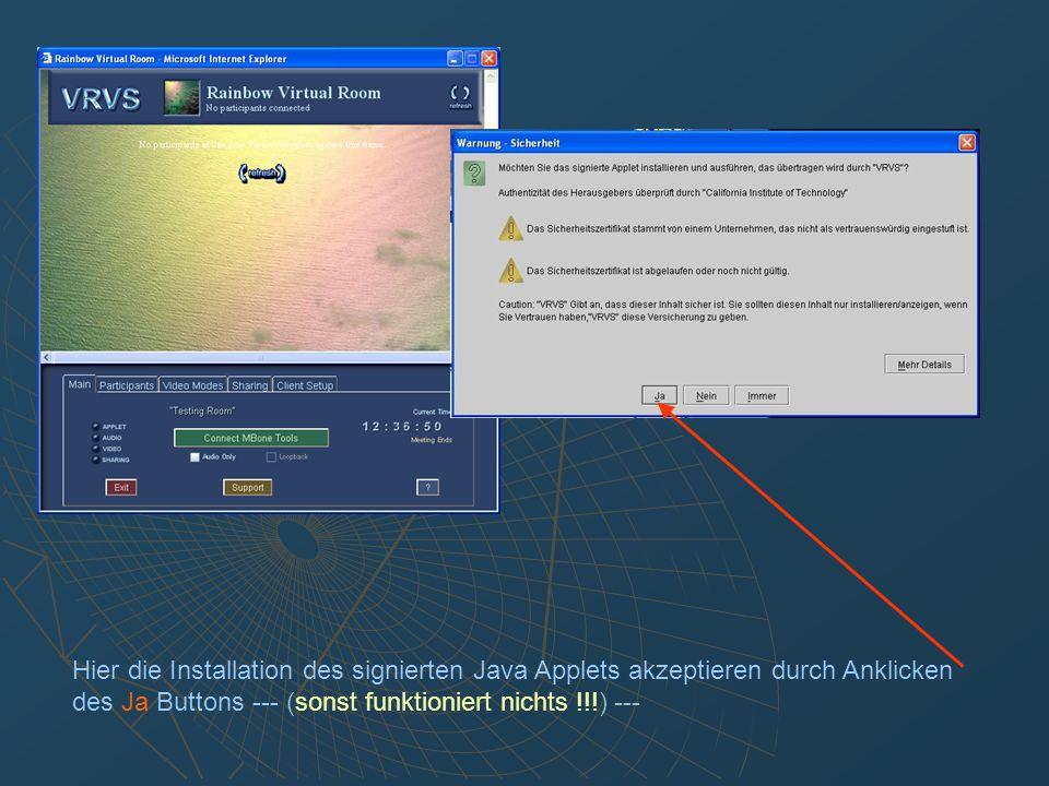Zusammen mit dem Virtual Room Applet wird auch das Text- Chat Fenster geöffnet, in dem Sie Textmeldungen senden und empfangen können.