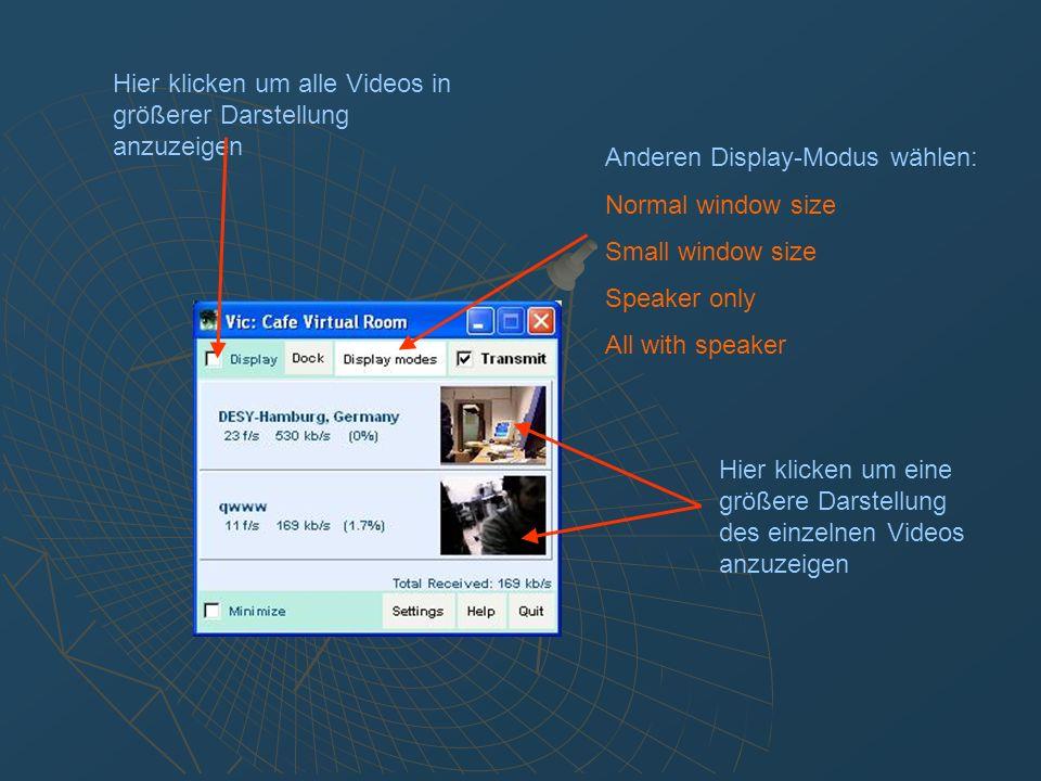 Weitere Features: Konferenz buchen H.323 Client statt mbone-tools Desktop Sharing Konferenz einrichten: