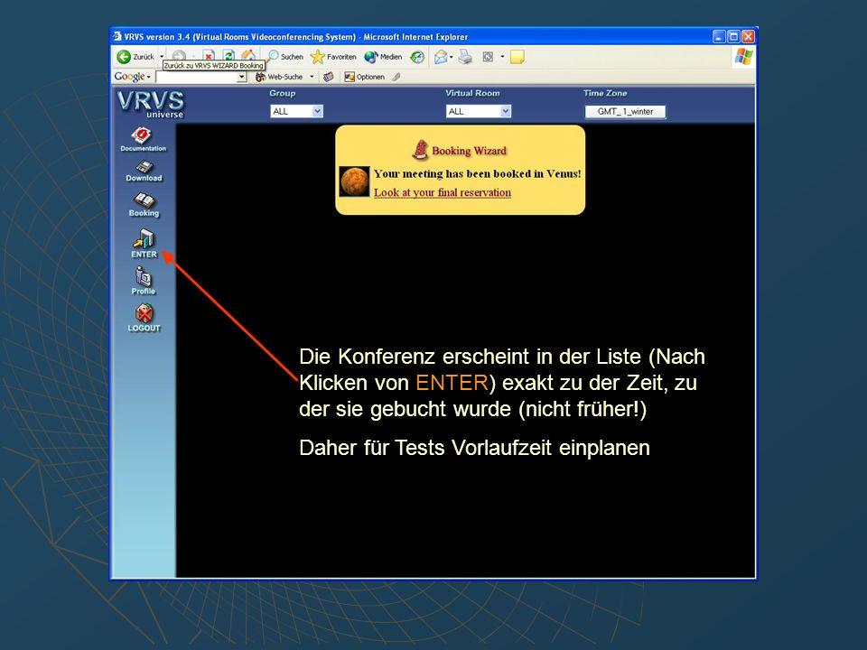 H.323 client statt der mbone tools benutzen: Im Virtual Room Fenster auf Client Setup klicken H.323 auf der linken Seite auswählen Konferenz einrichten:
