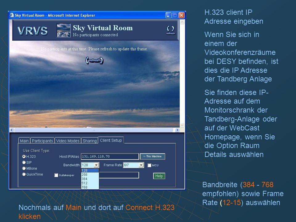Die Videos aller Teilnehmer können durch Klicken auf Video Modes und anschließend auf All streams angezeigt werden Der Monitor der Tandberg Anlage zeigt nur den aktiven (sprechenden) Teilnehmer