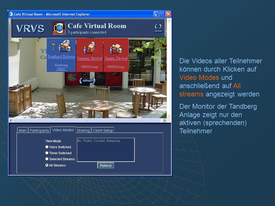 Desktop Sharing: Sicherstellen, daß der VNC Server auf dem PC gestartet ist.