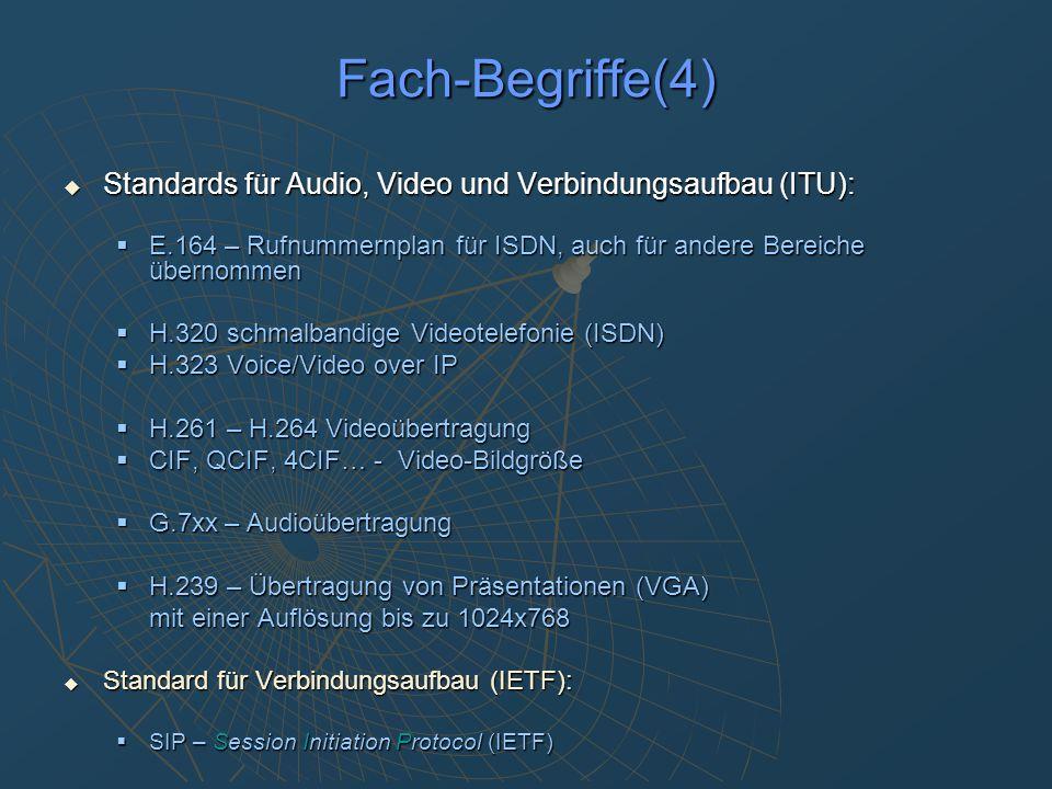 konventionelle Konferenzanlagen: Marktführer: Tandberg, Polycom Marktführer: Tandberg, Polycom … noch viele andere … noch viele andere ursprünglich nur ISDN (H.320) ursprünglich nur ISDN (H.320) inzwischen überwiegend Voice + Video über IP (H.323) inzwischen überwiegend Voice + Video über IP (H.323) Video Qualitätssteigerung von H.261 über H.263 zu H.264 Video Qualitätssteigerung von H.261 über H.263 zu H.264 Audio in CD-Qualität Audio in CD-Qualität Integrierte MCU für bis zu 4 Teilnehmern Integrierte MCU für bis zu 4 Teilnehmern