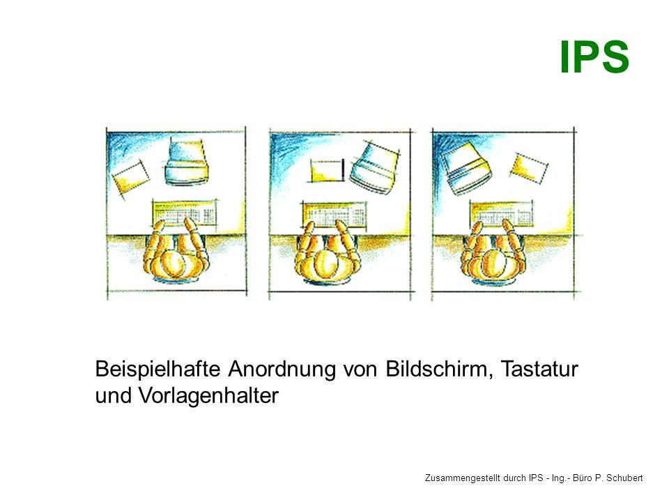 Beispielhafte Anordnung von Bildschirm, Tastatur und Vorlagenhalter Zusammengestellt durch IPS - Ing.- Büro P.