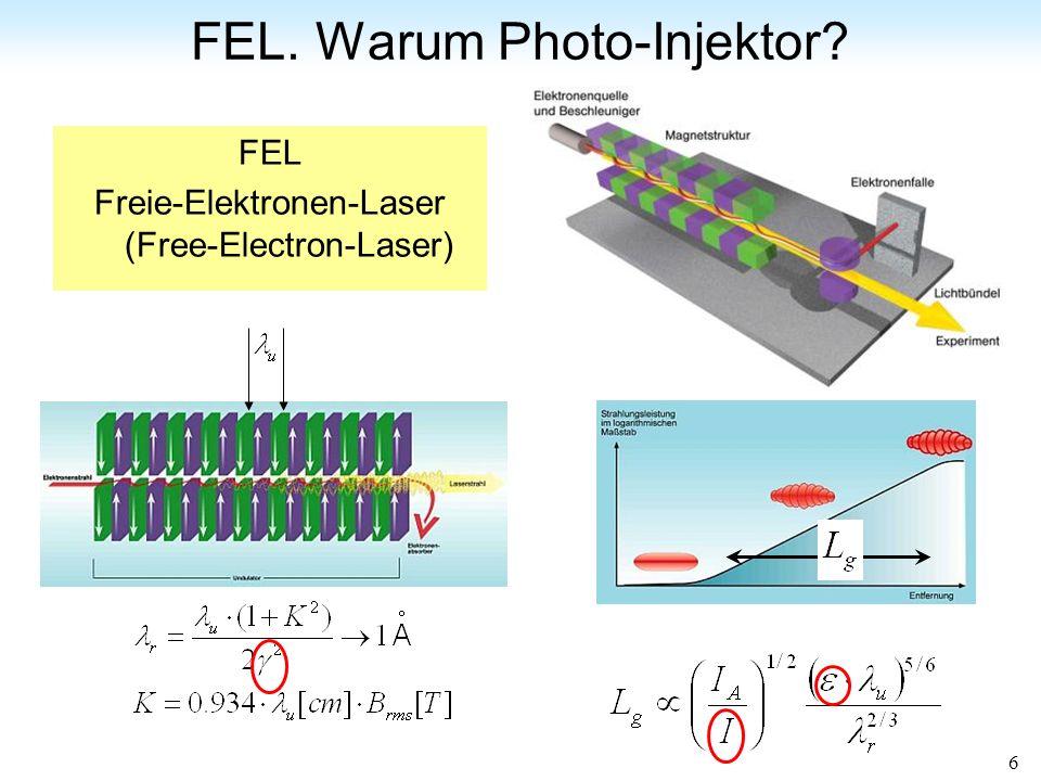6 FEL. Warum Photo-Injektor? FEL Freie-Elektronen-Laser (Free-Electron-Laser)