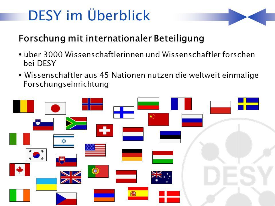 über 3000 Wissenschaftlerinnen und Wissenschaftler forschen bei DESY Wissenschaftler aus 45 Nationen nutzen die weltweit einmalige Forschungseinrichtung DESY im Überblick Forschung mit internationaler Beteiligung