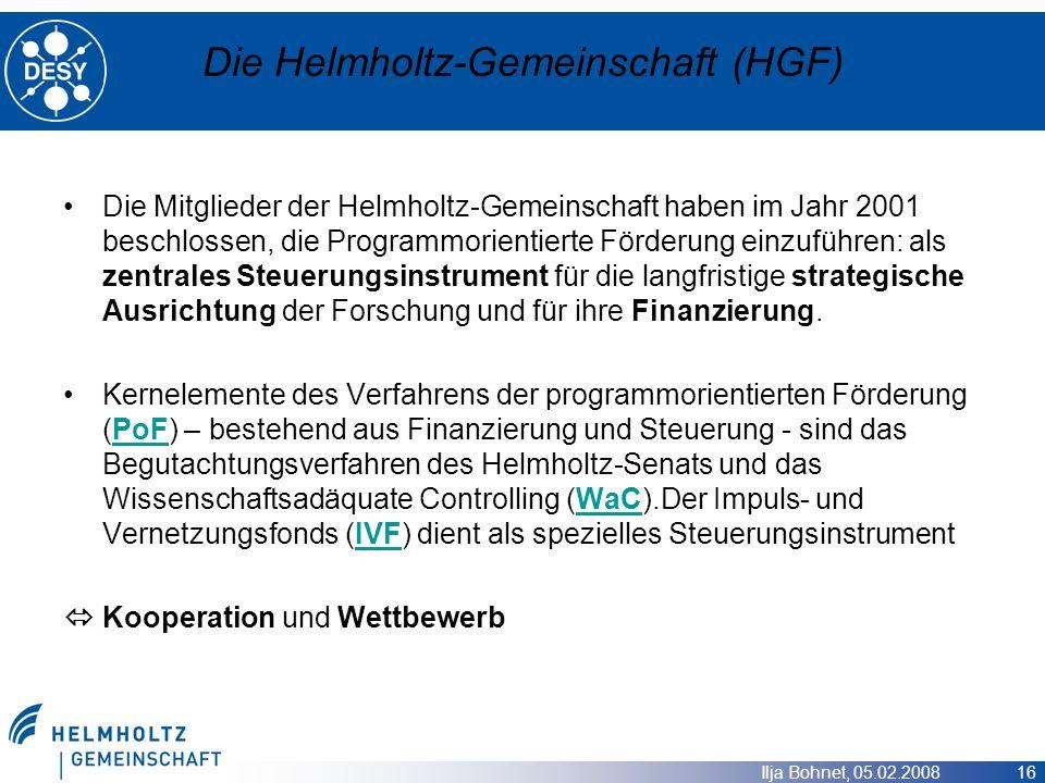 Ilja Bohnet, 05.02.2008 16 Die Helmholtz-Gemeinschaft (HGF) Die Mitglieder der Helmholtz-Gemeinschaft haben im Jahr 2001 beschlossen, die Programmorie