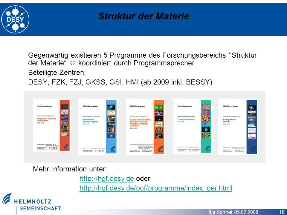 Ilja Bohnet, 05.02.2008 18 Struktur der Materie Gegenwärtig existieren 5 Programme des Forschungsbereichs