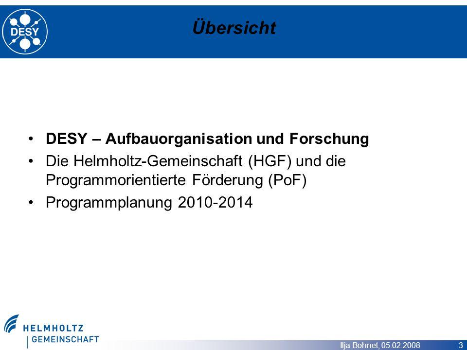 Ilja Bohnet, 05.02.2008 3 Übersicht DESY – Aufbauorganisation und Forschung Die Helmholtz-Gemeinschaft (HGF) und die Programmorientierte Förderung (Po