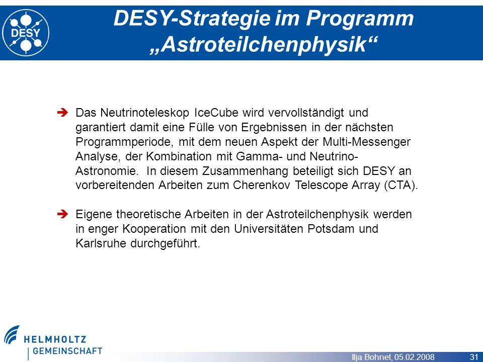 Ilja Bohnet, 05.02.2008 31 DESY-Strategie im Programm Astroteilchenphysik Das Neutrinoteleskop IceCube wird vervollständigt und garantiert damit eine