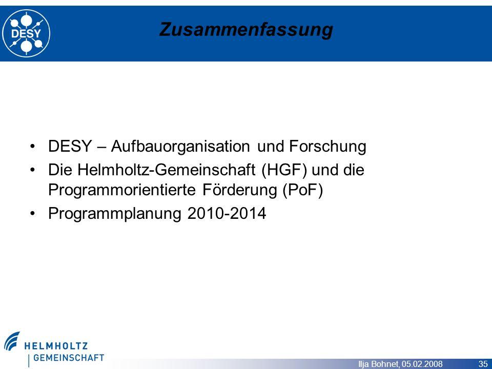 Ilja Bohnet, 05.02.2008 35 Zusammenfassung DESY – Aufbauorganisation und Forschung Die Helmholtz-Gemeinschaft (HGF) und die Programmorientierte Förder