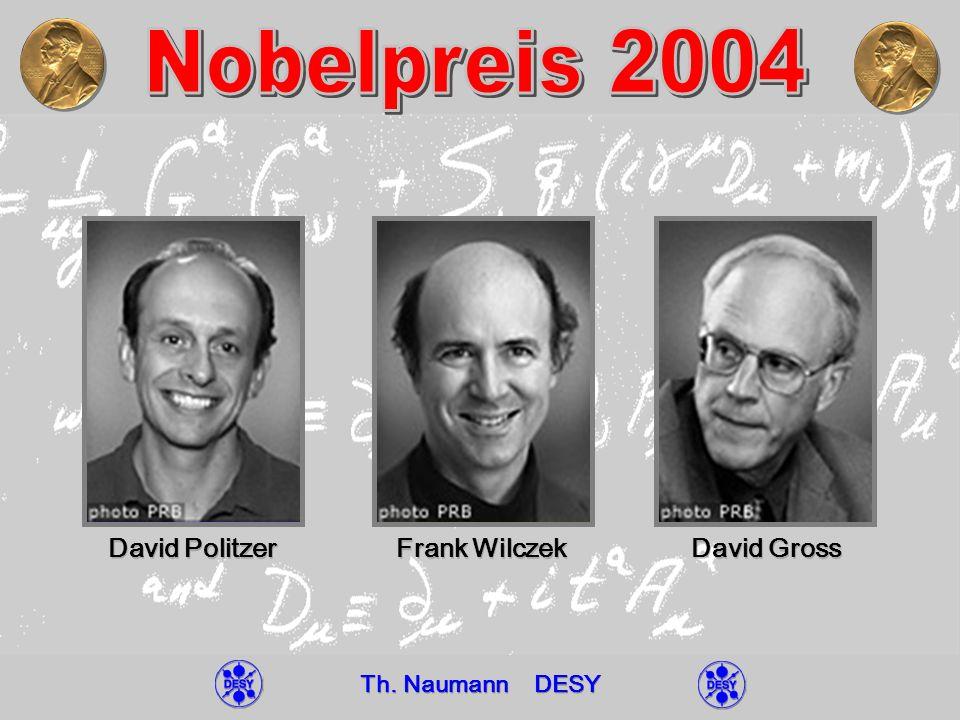 11.01.05 Th.Naumann DESY Nobelpreis 2004 Universität Leipzig31 4 s (Q 2 ) = ------------------ + … 9 ln (Q 2 / Λ 2 ) s (M Z ) = 0.1182 ± 0.0027 QCD Skala: Λ = 210 ± 30 MeV (MS, N F =5) ħc 200 MeV fm QCD-Skala Protonradius S.
