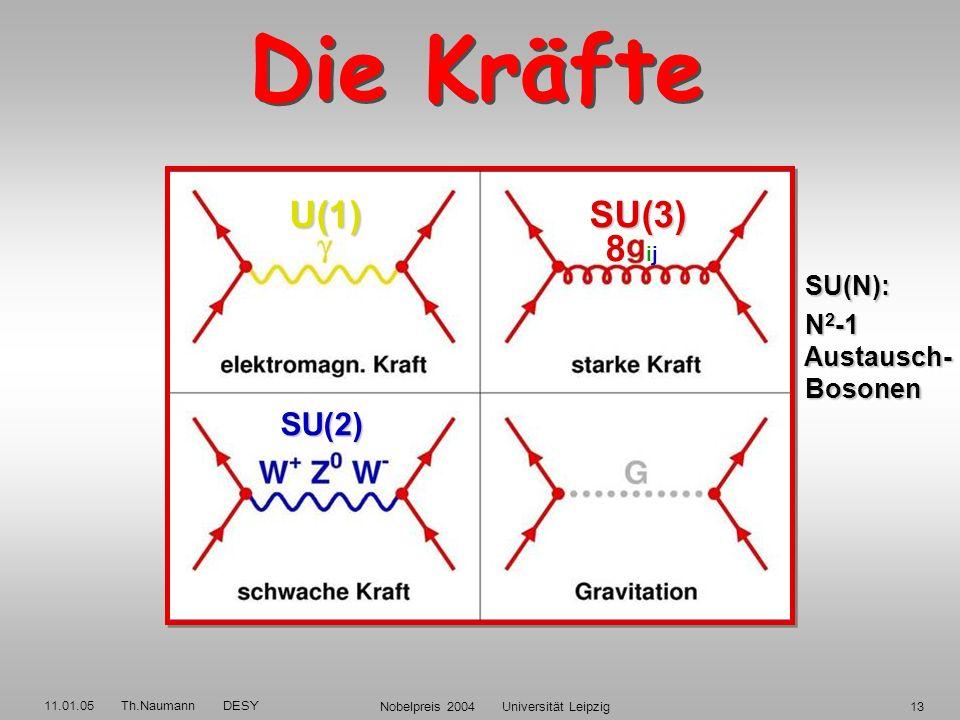 11.01.05 Th.Naumann DESY Nobelpreis 2004 Universität Leipzig12 QUARKS LEPTONEN QUARKS LEPTONEN Neutrinos Elektronen Neutrinos Elektronen 3 Familien Up