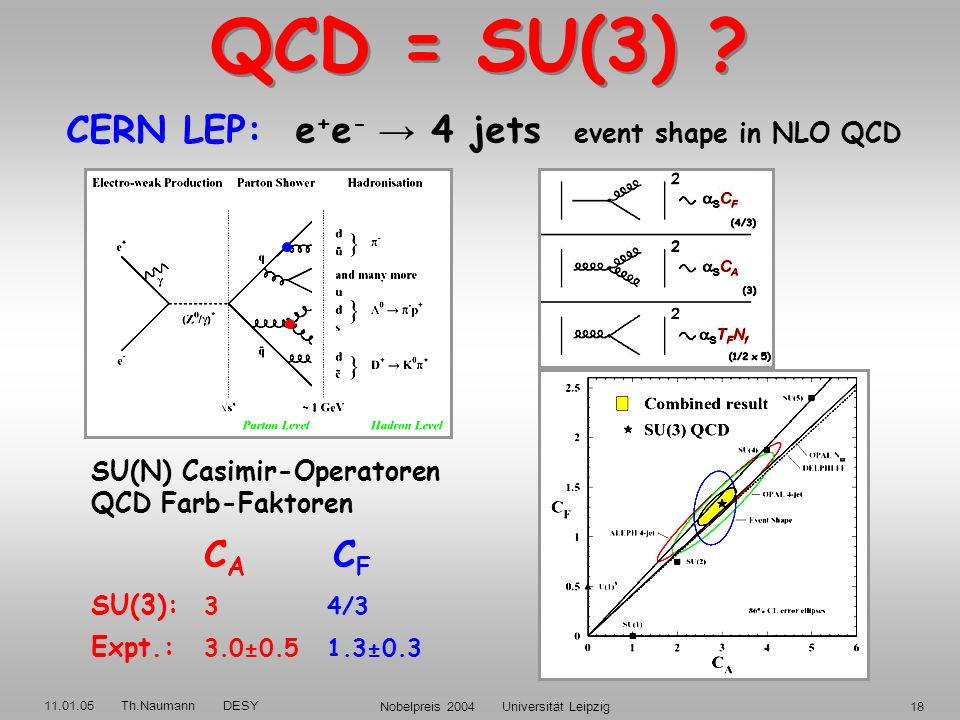 11.01.05 Th.Naumann DESY Nobelpreis 2004 Universität Leipzig17 PartonPhoton SpinPolarisation 0,1 T = 0 longitudinal 1/2 L = 0 transversal L / T = 0 el
