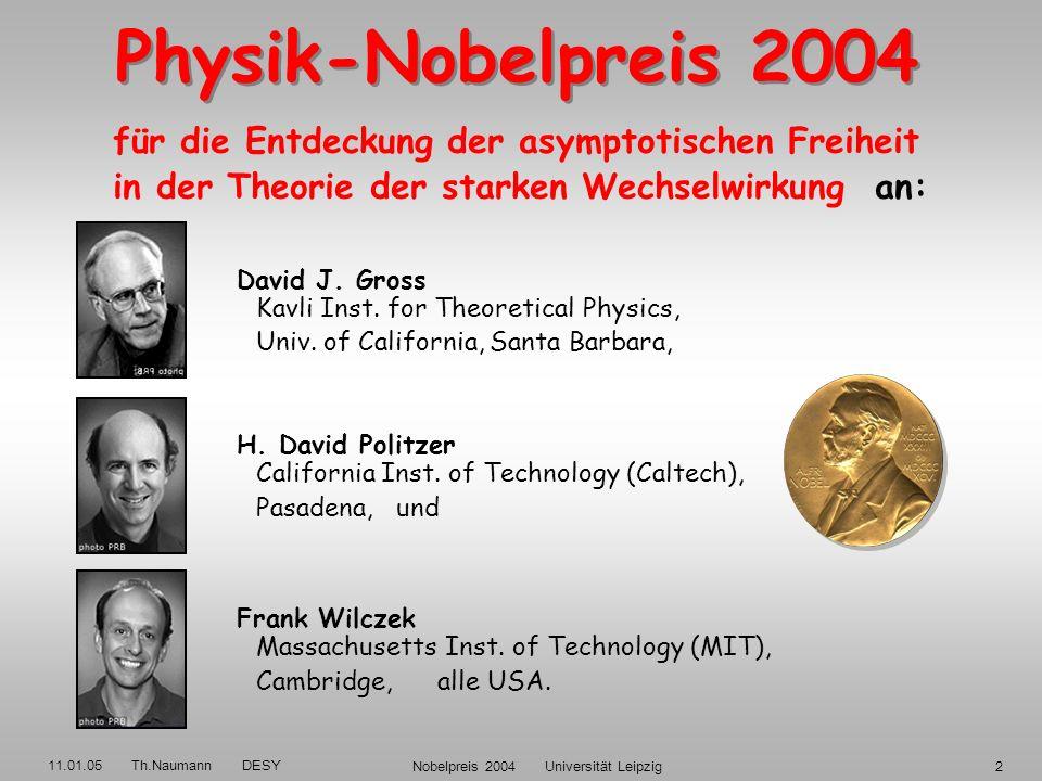 11.01.05 Th.Naumann DESY Nobelpreis 2004 Universität Leipzig12 QUARKS LEPTONEN QUARKS LEPTONEN Neutrinos Elektronen Neutrinos Elektronen 3 Familien Up x2 = 6 Flavors Down Up x2 = 6 Flavors Down Die Bausteine