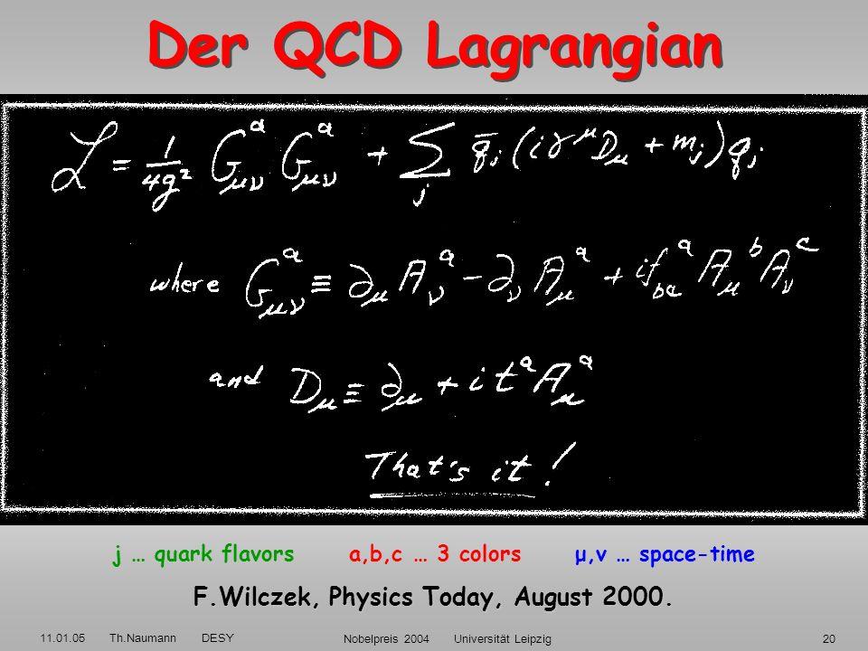 11.01.05 Th.Naumann DESY Nobelpreis 2004 Universität Leipzig19 QCD Q uanten- C hromo- D ynamik QED QED U(1), abelsch 1 Ladungs-Typ 1 Photon: elektr. n