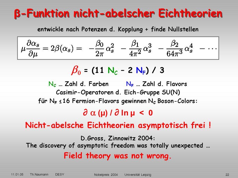 11.01.05 Th.Naumann DESY Nobelpreis 2004 Universität Leipzig21 1973: D.Gross, F.Wilczek, D.Politzer Gibt es Asymptotisch freie Eichtheorien ? W.+P.: D