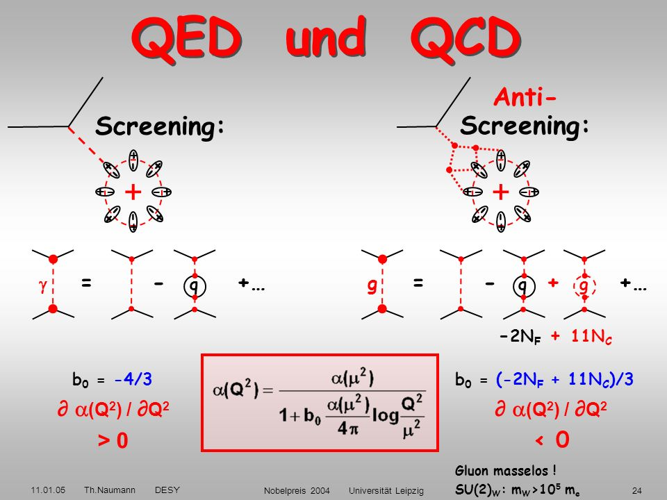 11.01.05 Th.Naumann DESY Nobelpreis 2004 Universität Leipzig23 G.t´Hooft: Es war wie ein Schock, als man entdeckte, daß die nicht-abelschen Eichtheori