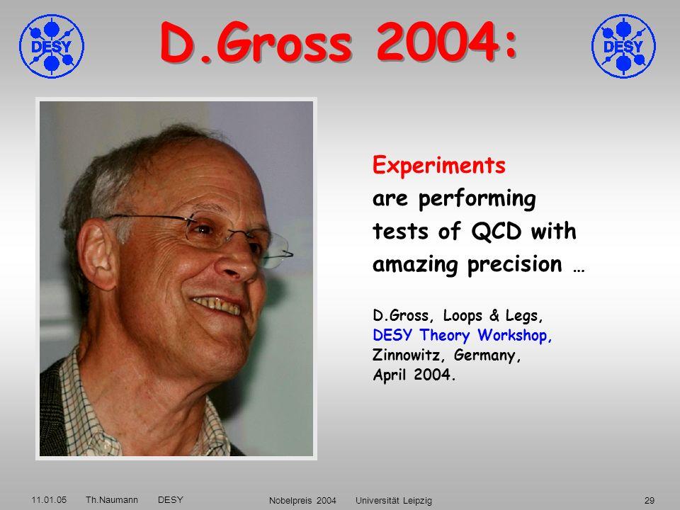 11.01.05 Th.Naumann DESY Nobelpreis 2004 Universität Leipzig28 Spektroskopie gebundener Zustände schwerer Quarks:,,... = (c c),,... = (c c),,... = (b