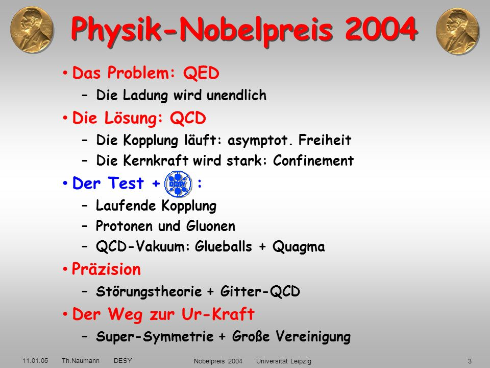 11.01.05 Th.Naumann DESY Nobelpreis 2004 Universität Leipzig53 QCD auf dem Gitter Alternative: –diskrete Raum-Zeit –minimiere QCD Pfad-Integrale –simuliere QCD auf dem Gitter : –Freiheitsgrade: Color, Flavor, Quark-Massen δα S /α S = 1% ok mit Expt.+ 3-Loop bei DESY Zeuthen 2005/6: 3 TFlop APE Gitter-Rechner L a L/a=16,32,…