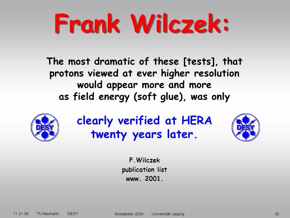 11.01.05 Th.Naumann DESY Nobelpreis 2004 Universität Leipzig31 4 s (Q 2 ) = ------------------ + … 9 ln (Q 2 / Λ 2 ) s (M Z ) = 0.1182 ± 0.0027 QCD Sk