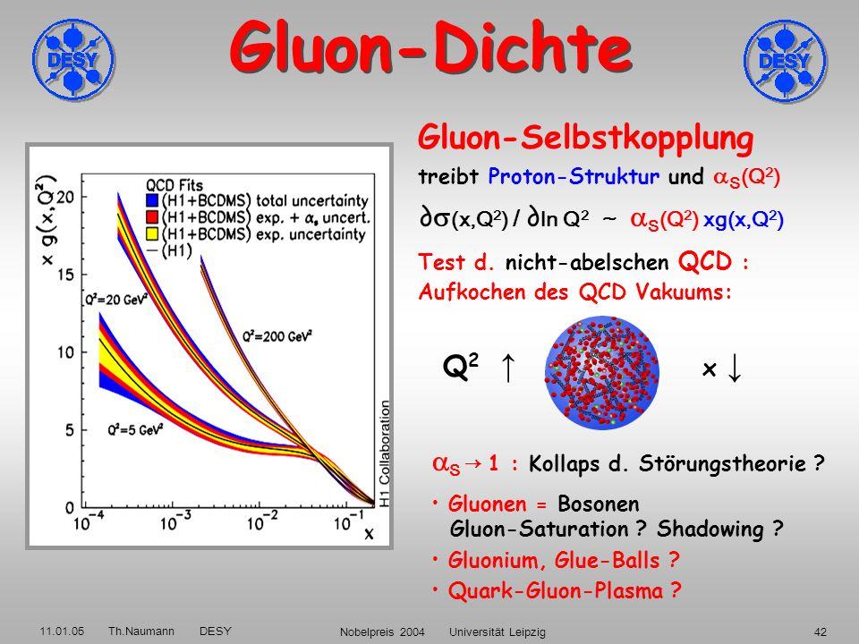 11.01.05 Th.Naumann DESY Nobelpreis 2004 Universität Leipzig41 Das Vakuum kocht … 1974 - an der Wiege der QCD: 1996: HERA-Messung: Proton-Struktur: Au