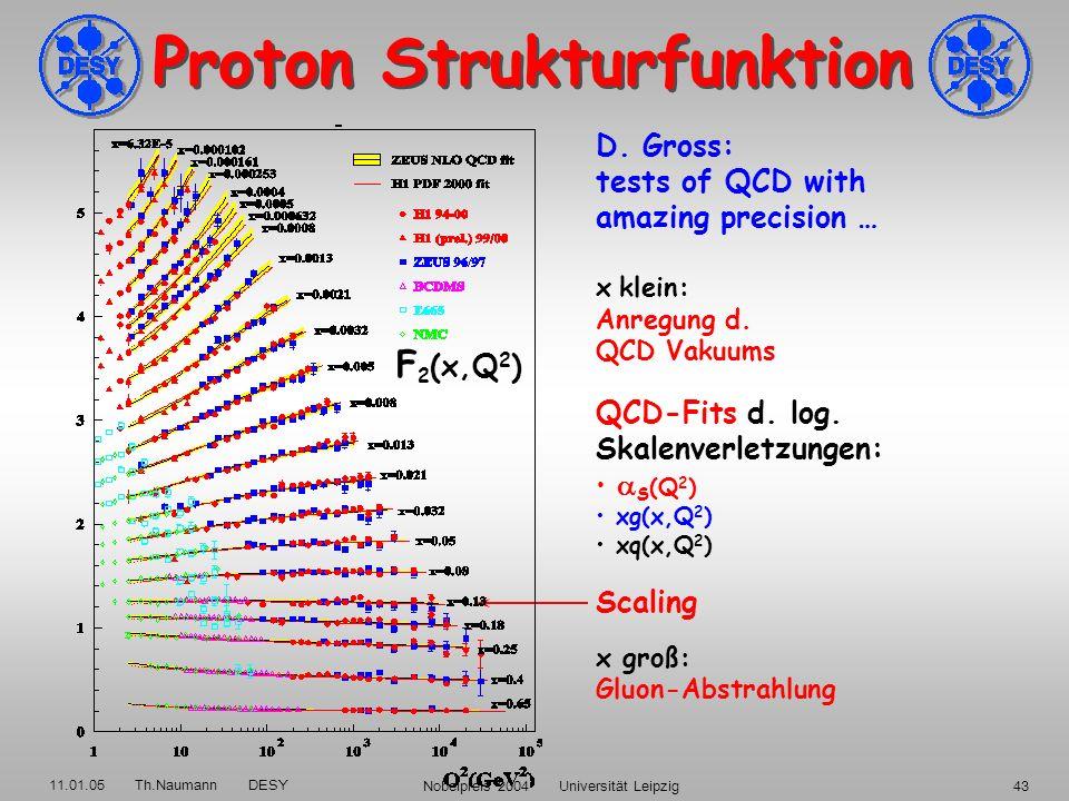 11.01.05 Th.Naumann DESY Nobelpreis 2004 Universität Leipzig42 Gluon-Selbstkopplung treibt Proton-Struktur und S (Q 2 ) (x,Q 2 ) / ln Q 2 ~ S (Q 2 ) x