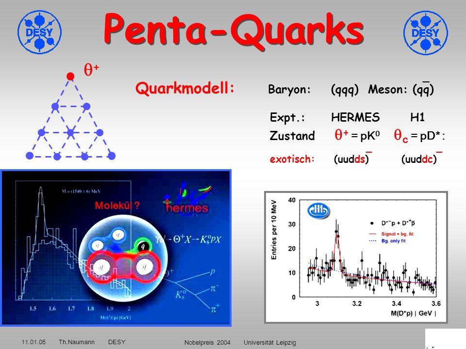 11.01.05 Th.Naumann DESY Nobelpreis 2004 Universität Leipzig45 Gott schuf die Quarks frei <μs nach dem Urknall danach QCD Confinement: Phasenübergang