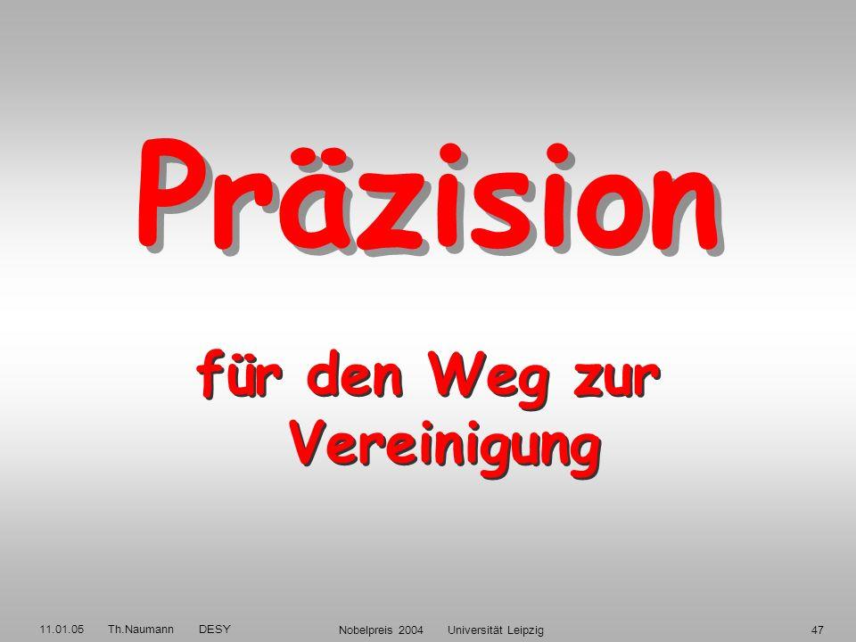 11.01.05 Th.Naumann DESY Nobelpreis 2004 Universität Leipzig46 _ Quarkmodell: Baryon: (qqq) Meson: (qq) Expt.: HERMES H1 Zustand + = pK 0 c = pD* : _