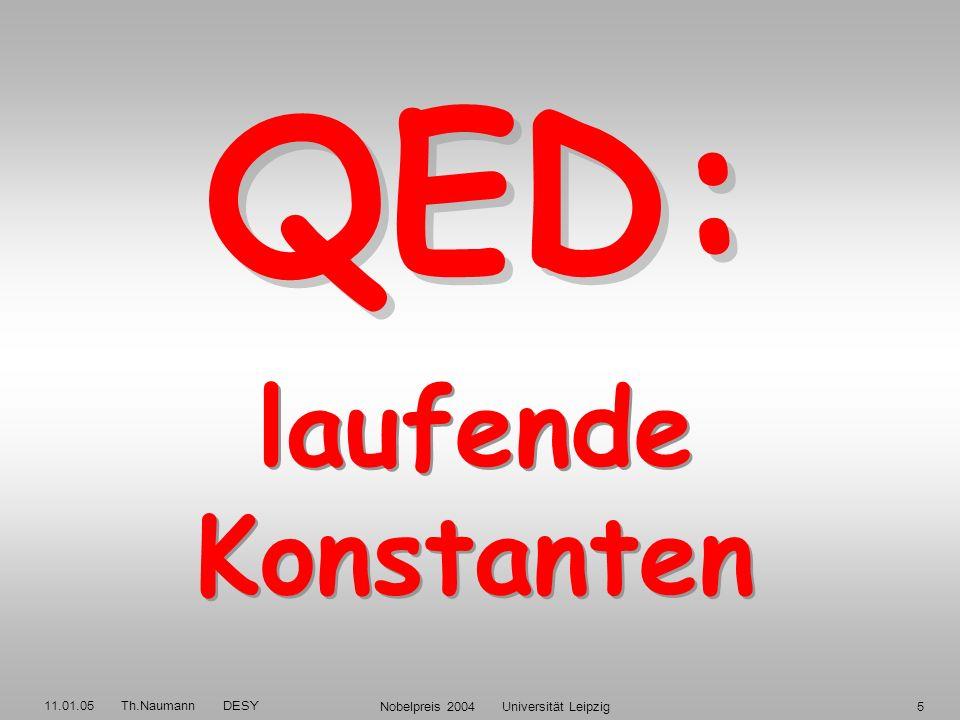 11.01.05 Th.Naumann DESY Nobelpreis 2004 Universität Leipzig15 Energie 2 im Massenschwerpunkt-System: s = (k + P) 2 = 4 E e E p HERA: s = 4·27.6 GeV·920 GeV = (319 GeV) 2 Q 2 = - q 2 = - (k - k) 2 Quadrat des Viererimpuls-Übertrags Rutherford 1911: Photon-Propagator d / dQ 2 = 4 2 / Q 4 d / dcos( ) = 2 / 2E 2 sin 4 ( /2) Mott 1929, Elektron-Spin: Mott = cos 2 ( /2) Ruth.
